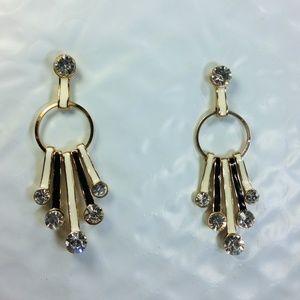 Crystal B&W Enamel Dangle Earrings Retro Elegant